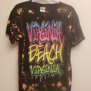Bleach Splatter Virginia Beach Black Tee S